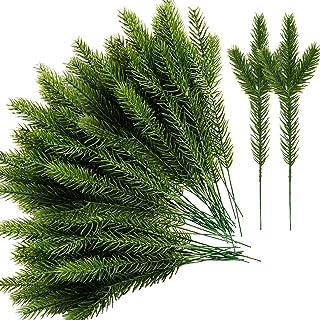 Alpurple 45 Packs Artificial Pine Needles Branches Garland-10.2x2.5 Inch Green Plants Pine Needles,Fake Greenery Pine Pick...