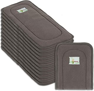 Naturally Natures Cloth Diaper Inserts 5 Layer Charcoal Bamboo Reusable Liners - Insert - for Cloth Diapers (Pack of 12) (Grey)