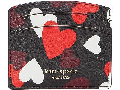 Kate Spade New York Spencer Celebration Hearts Card Holder (Black Multi) Handbags