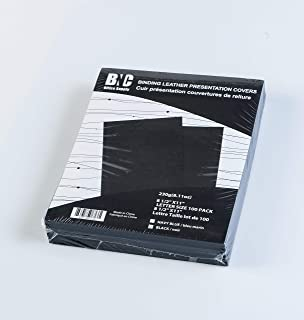 BNC Leather Texture Paper Presentation Covers Pack of 100, Black Color, Letter Size