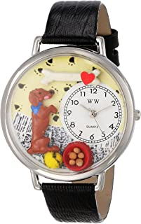 Whimsical Watches Unisex U0130009 Begging Dog Black Skin Leather Watch