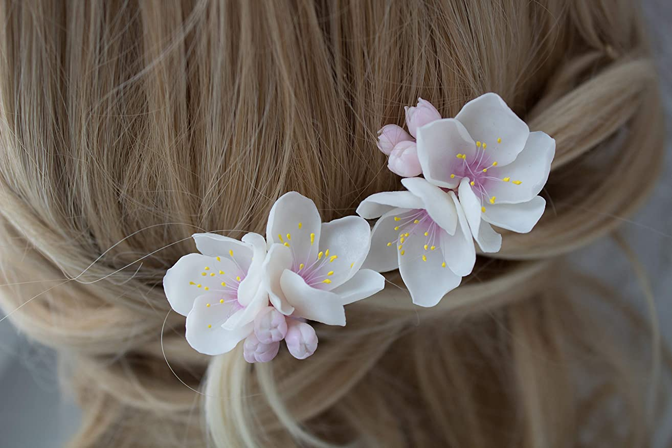 Spring wedding hair accessories for bride bridesmaids maid of honor Cherry blossom apple apricot Blooming flower hair bobby pin White pink pastel dusty blush Handmade delicate floral natural