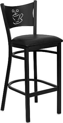 Flash Furniture HERCULES Series Black Coffee Back Metal Restaurant Barstool - Black Vinyl Seat