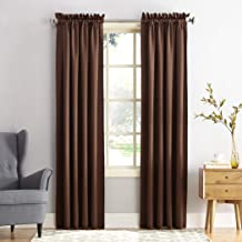 (chocolate, 54x84) - Sun Zero Groton Thermal Semi-opaque Rod Pocket Single Curtain Panel