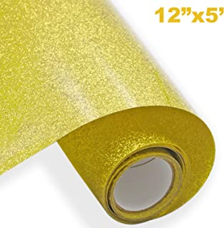 Glitter HTV Vinyl Heat Transfer Vinyl Roll 12 inch x 5 ft Easy to Weed Iron on Vinyl Heat Press, DIY Design for T-Shirts, Pillow and Other Textiles(Gold)