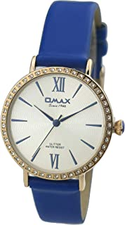 Omax #GT008R64I Women's Diamante Studded Dial Leather Strap Wrist Watch, Analog Display, Japanese Quartz Movement, Buckle Clasp, 3 ATM Water Resistant (Blue Strap Gold Dial White Face)