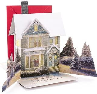 Hallmark Christmas Card with Light and Song (Displayable Dimensional Thomas Kinkade House Plays We Wish You a Merry Christmas)