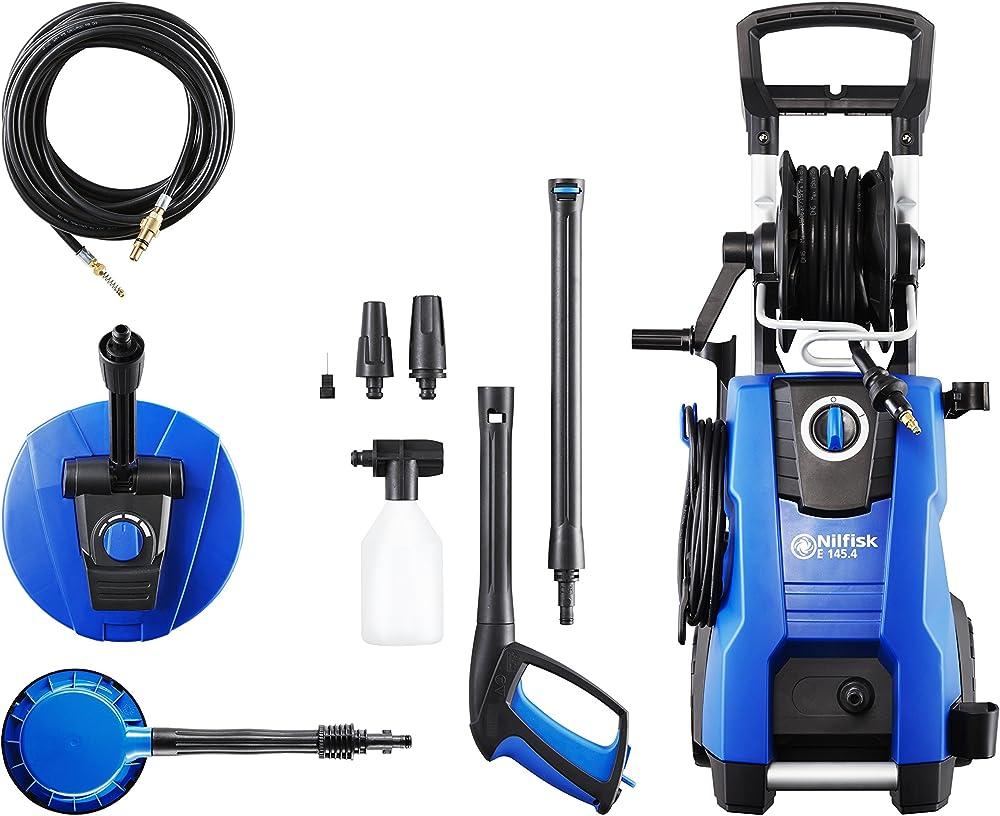 Hidrolimpiadora Nilfisk E de 145 Bares con Motor de inducción (Incluye Limpiador para Patios, Cepillo Giratorio y Limpiador para desagües)