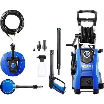 Nilfisk E 145 bar 145.4-9 X-TRA PAD Hochdruckreiniger für Haushalt, Außenbereich, Autowäsche und Gartenarbeiten – inklusive Terrassenreinigungsset – 2100-W-Induktionsmotor, 230 V (blau)