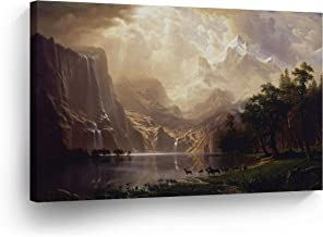 Among The Sierra Nevada California, Albert Bierstadt Classic Art Canvas Print Famous Fine Art Oil Painting Reproduction Canvas Wall Art Home Decor Stretched Ready to Hang-%100 Made in The USA- 8x12