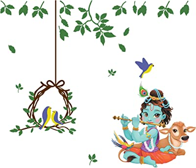 creatick studio Beautiful Decorative Krishna Wall Sticker (76 x 88 cm)