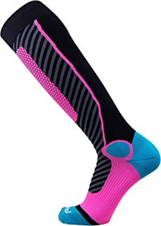 Pure Athlete Ski Socks for Men and Women – Striped Warm Merino Wool Skiing, Snowboard Winter Sock – Midweight, Shin Padding