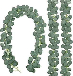 CEWOR 3 Packs Aartificial Eucalyptus Garland Artificial Vines Faux Silver Dollar Eucalyptus Plants for Wedding Party Home ...