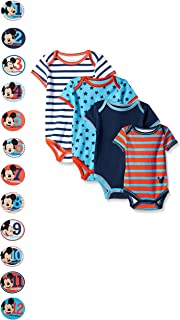 Baby-Boys Grow with Me Bodysuits with 12 Monthly Mickey Stickers (Pack of 4)