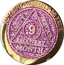 9 Month AA Medallion Reflex Pink Glitter Gold and Silver Plated Chip