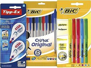 Tipp-Ex Mini Pocket Mouse Correctors, BIC Cristal Original Ball Pens, BIC Highlighter Pens - Assorted Colours, Lot of 1, s...