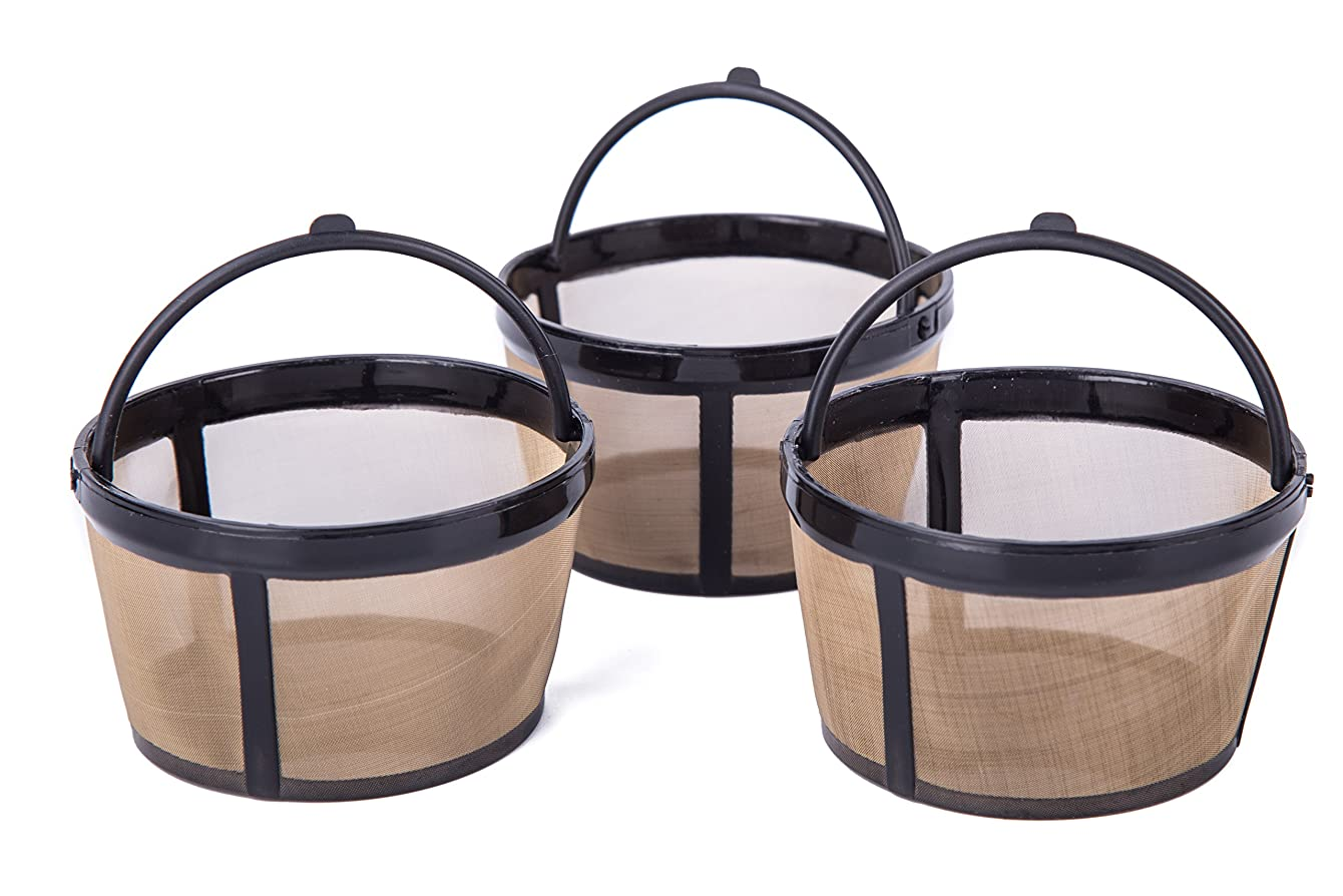 Tebery Permanent Basket-Style Gold Tone Coffee Filter fits Mr. Coffee 4 Cup Coffeemakers With Handle (3 Pack)