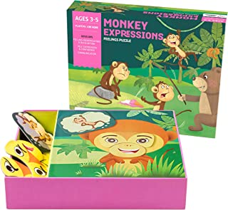 Chalk and Chuckles Monkey Expressions Preschool Feelings Puzzle for Kids Ages 3-6 Years Old, Social Emotional Learning, Ed...
