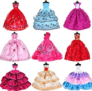 Doll Clothes Dresses for Barbie Girl Dolls 10 Pcs Lot - Handmade Clothes for Barbie 11.5 Inch Girls Doll Wedding Party Dresses Gowns Outfit Costume Toys for Kids Xmas Birthday Random Style - coolthings.us