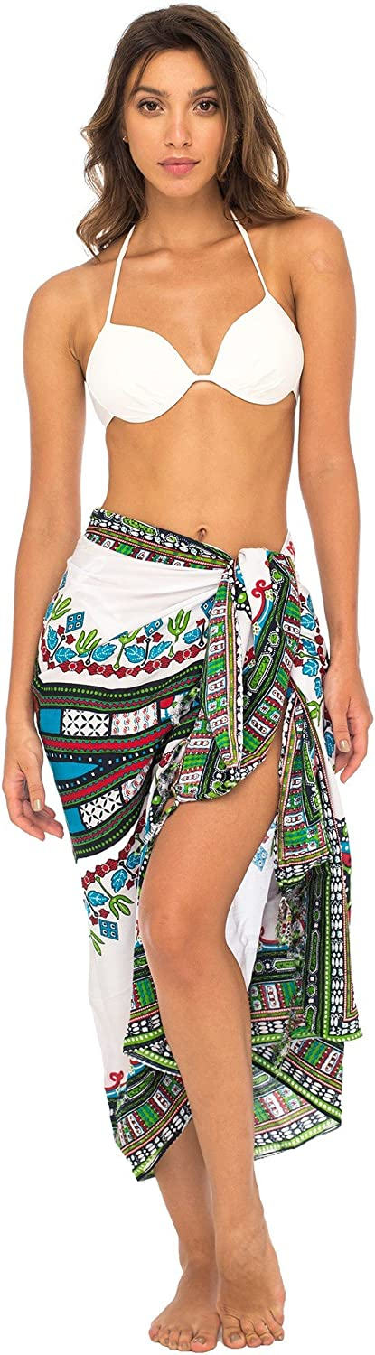 Back From Bali Womens Sarong Swimsuit Cover up Ethnic Beach Wear Bikini Wrap Skirt with Coconut Clip