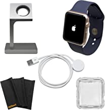 Apple Watch Series 1 Smartwatch Plus Charging Stand, Extra Charging Cable and Clear Fitted Protective Case (42mm, Rose Gold Aluminum Case, Midnight Blue Sport Band) (Renewed)