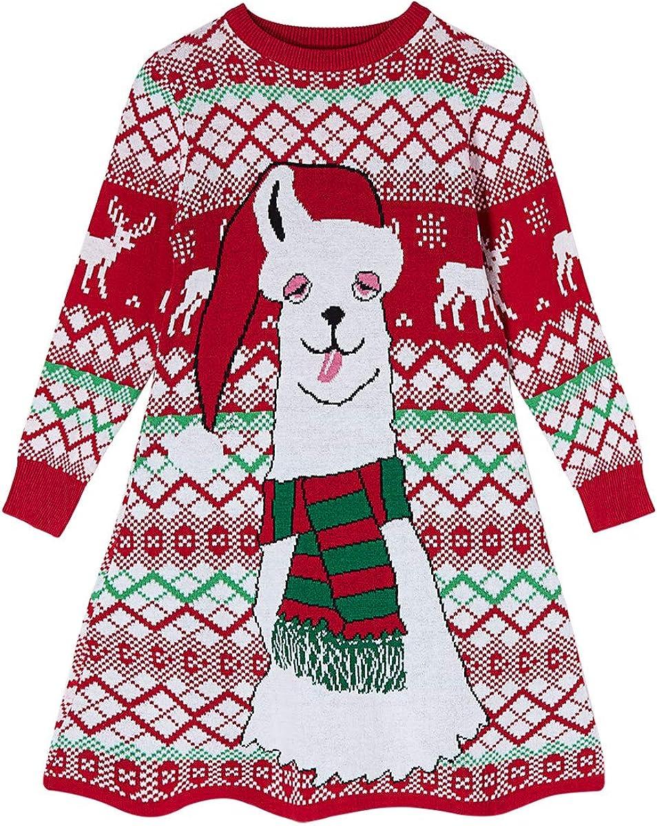 UNIFACO Little Girls Cheap sale Christmas Sweater Dress Reindeer Xmas Import Santa