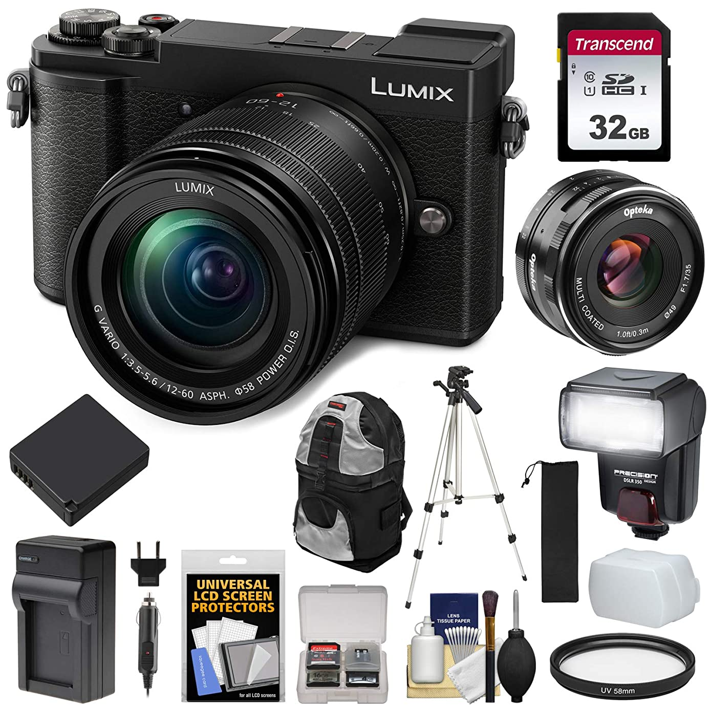 Panasonic Lumix DC-GX9 4K Wi-Fi Digital Camera & 12-60mm (Black) with 35mm f/1.7 Lens + 32GB Card + Battery + Charger + Backpack + Tripod + Flash Kit