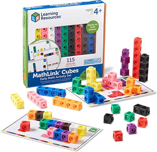 Learning Resources Early Math MathLink Cube Activity Set, Math Blocks, Early Math Skills, Back to School Activities, ...