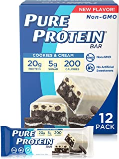 Pure Protein Pure Protein Bars, High Protein, Nutritious Snacks to Support Energy, Cookies and Cream 12 Cou...