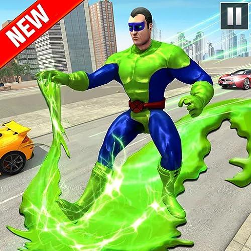 Grüner Schleim Ninja Hero City: Seltsamer Gangster Vegas - Fliegender Superheld Lichtgeschwindigkeitssimulator: Ultimative Stadtrettungs-Überlebens-Missionsspiele 2021