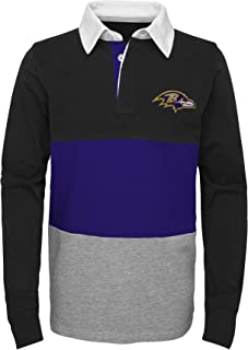Outerstuff NFL Baltimore Ravens Youth Boys State of Mind Long Sleeve Rugby Top Black, Youth Large(14-16)