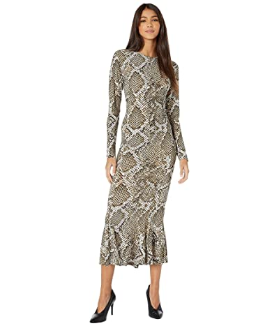 KAMALIKULTURE by Norma Kamali Long Sleeve Crew Fishtail Dress to Midcalf (Scale Python) Women