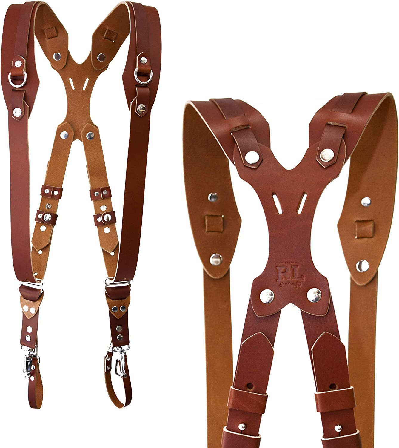 Clydesdale Pro-Dual Handmade Leather Camera Harness Black, X-Large Sling /& Strap RL Handcrafts Point /& Shoot Made in The USA DLSR Mirrorless