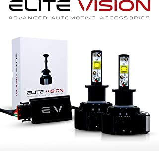 Elite Vision Advanced Automotive Accessories - Elite LED Conversion Kit H3 for Bright White Headlights Bulbs, Low Beams, High Beams, Fog Lights