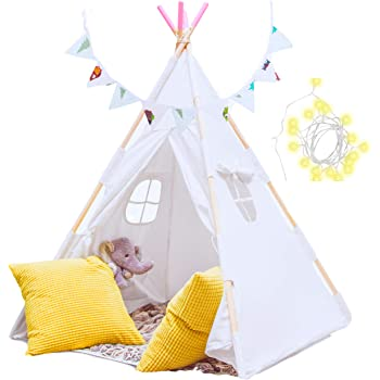 Teepee Tent for Kids with Floor, String Lights, Flags and Carry Case – Large Foldable Play Tent for Girls, Boys, Toddlers - Cotton Canvas for Indoor Outdoor Use