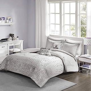 Intelligent Design Zoey Triangle Metallic Print, Cozy Comforter Season Bedding Set, Matching Sham, Decorative Pillow, Full/Queen, Grey/Silver