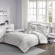 Intelligent Design Zoey Metallic Triangle Print Ultra Soft Hypoallergenic Microfiber Comforter Set Bedding, Full/Queen, Grey/Silver 5 Piece