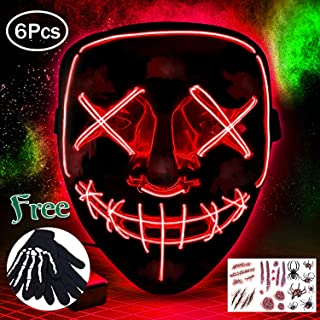 Halloween Mask LED Light Up Mask Scary Mask for Festival Cosplay Decoration