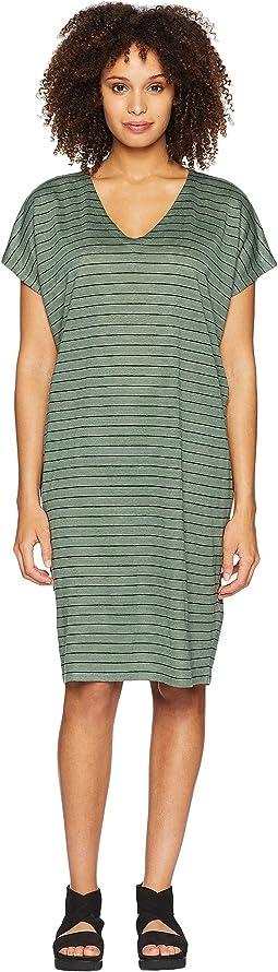 V-Neck Knit Linen Dress