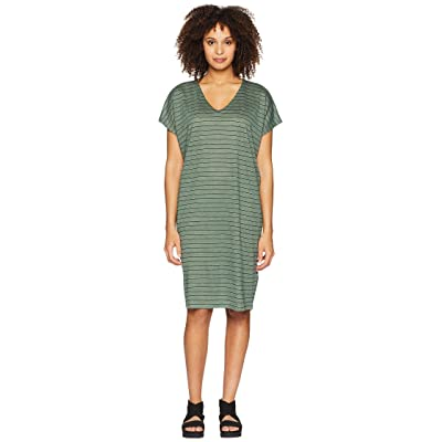Eileen Fisher V-Neck Knit Linen Dress (Nori) Women