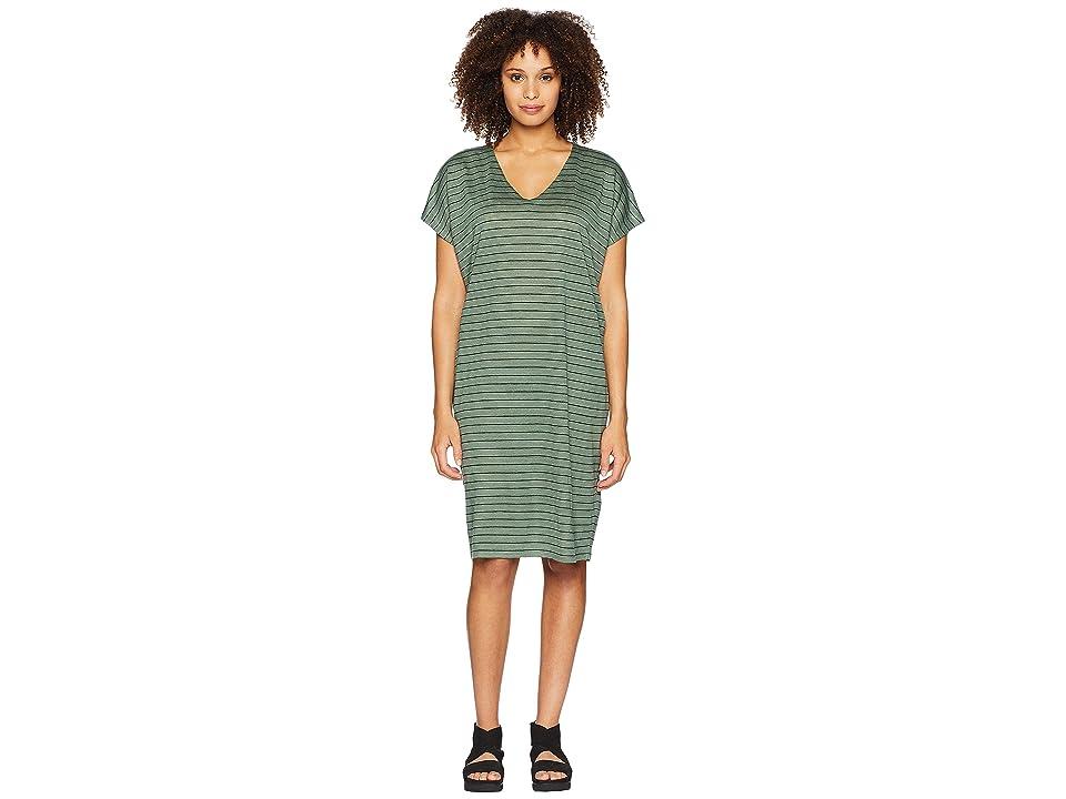 Eileen Fisher V-Neck Knit Linen Dress (Nori) Women