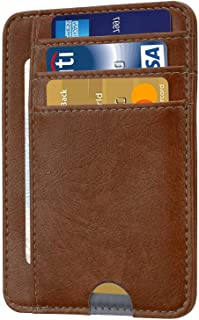 HOTCOOL Front Pocket Minimalist Leather with RFID Blocking Card Holder Wallet for Men & Women,Brown
