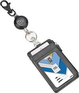 Wisdompro Porte-badge double-face muni d'une fermeture éclair avec enrouleur rétractable robuste et porte-clés, similicuir