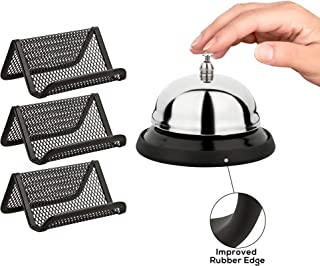 Call Bell with Business Card Holders - Improved Rubber Edge Service Bell for Office, Restaurant, Hotel, Reception - Big Chrome Finished Desk Bell 3.3