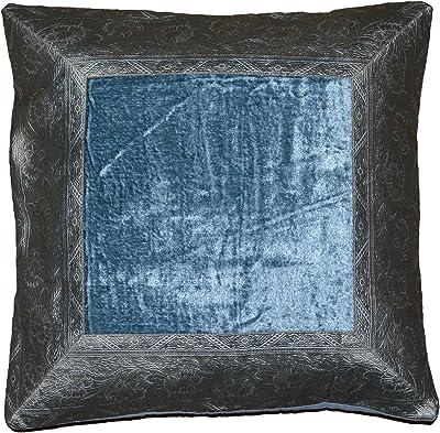 indio almohada funda de cojín terciopelo brocado Asia mesa decorativa con motivos orientales funda cojín Plata de color azul, algodón, plateado/azul, 40 x 40 cm: Amazon.es: Hogar