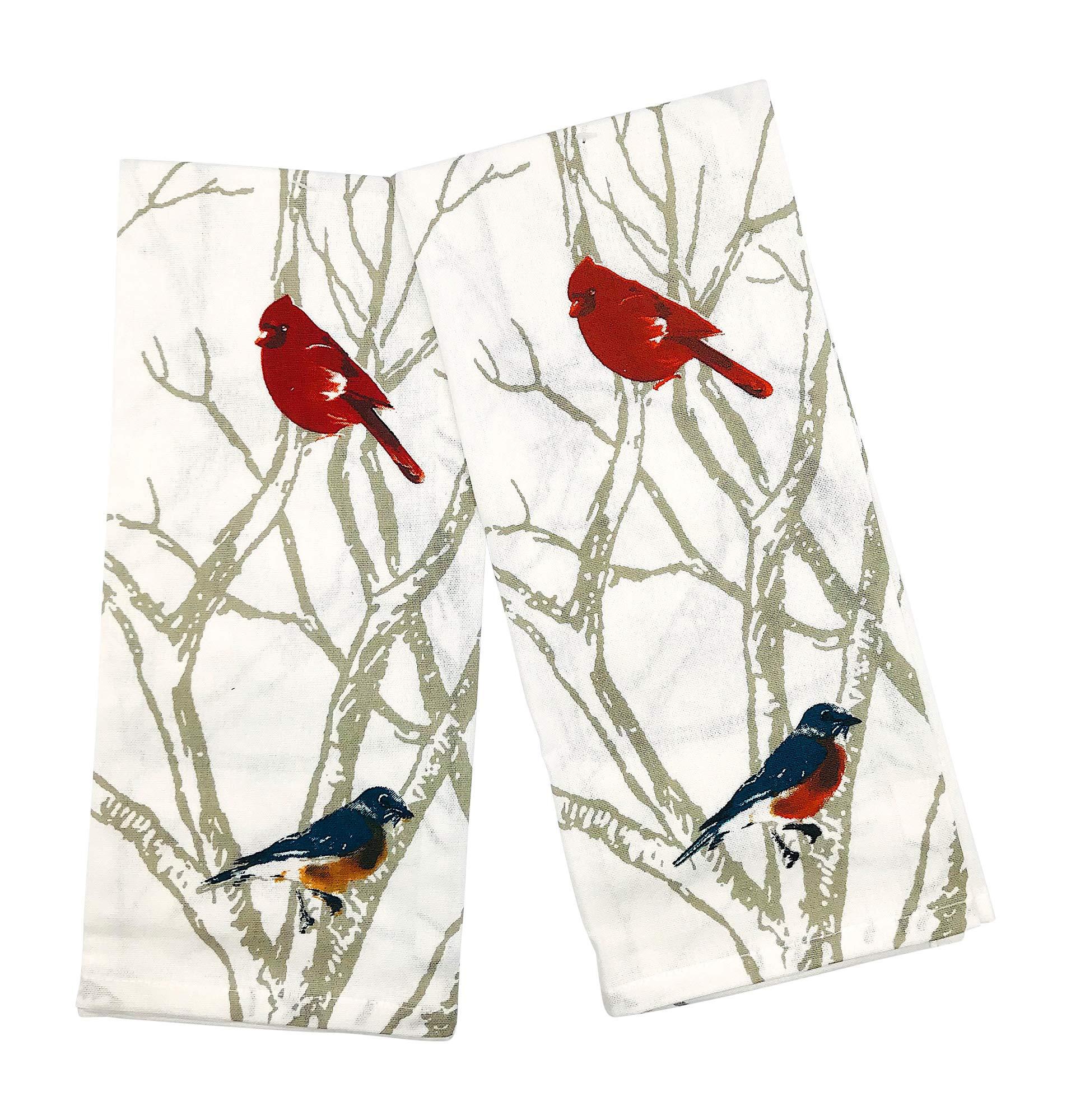 INDIA OVERSEAS Bird Watching Hand Towels: Colorful Artistic Wildlife Design, Set of 2