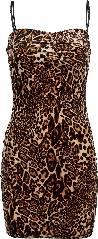 Glam and Gloria Womens Velvet Leopard Cheetah Pattern Animal Print Sleeveless Cocktail Mini Dress Brown