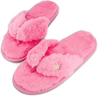 Super Fuzzy Warm Flip Flops Pink Ladies Comfy Lightweight House Slippers Memory Foam Indoor Home Shoes Closed Toe with Thick Durable Non Slip Sole Washable for Women Winter