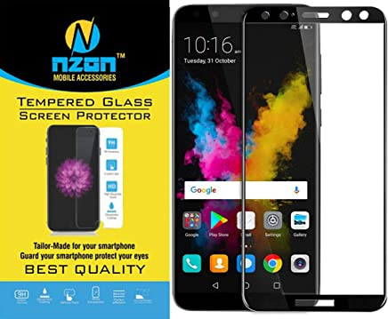 nzon Huawei Honor 9i Tempered Glass Edge to Edge Full Coverage 11D Curved Scratch Proof Bubble Free 0.3mm Tempered Glass for Honor 9i 2018 Edition Screen Protector - Black