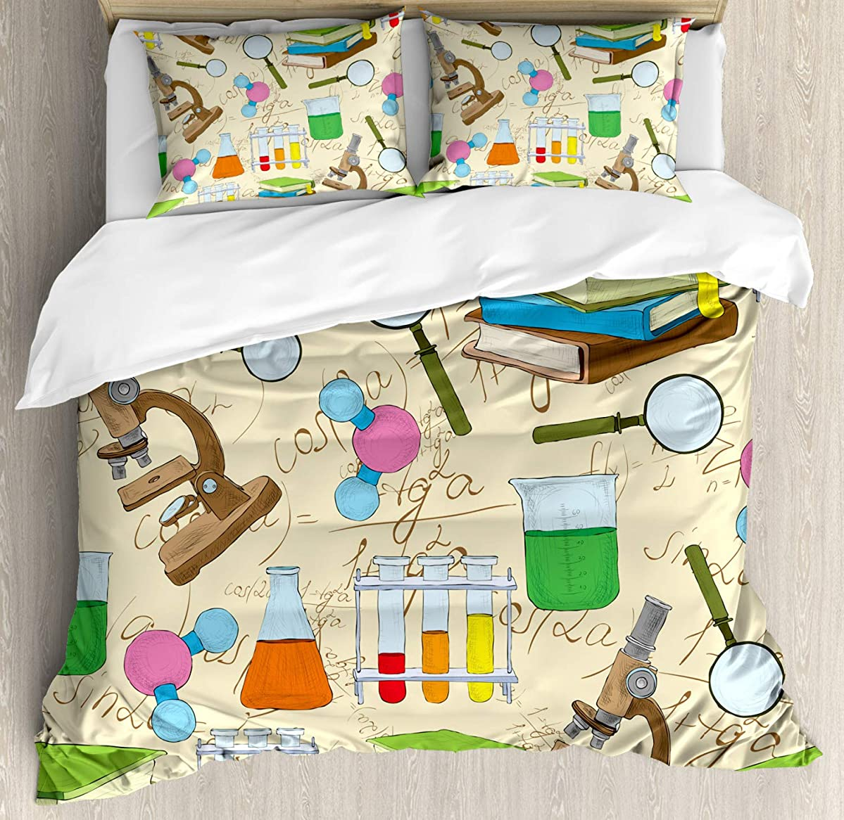 Ambesonne Kids Duvet Cover Set Queen Size, Science Education Lab Sketch Books Equation Loupe Microscope Molecule Flask Print, Decorative 3 Piece Bedding Set with 2 Pillow Shams, Multicolor